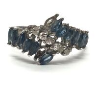 Vintage Sterling Silver Ring 925 Size 7 Blue Sapphire Band CZ Missing 3 Stones