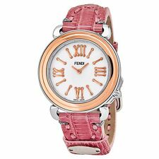 Fendi Women's Selleria MOP Dial Pink Leather Strap Quartz Watch F8012345H0.TS07