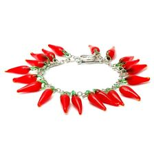 Red Hot Chilli Glass T Bar Charm Bracelet - Kitsch Funky Jewellery Food Cute
