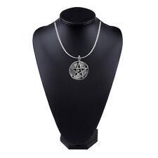 Peltre Pentáculo Pentagrama en un 45.7cm Platino Cadena Joyería G34
