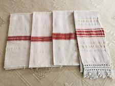 OLD ANTIQUES PRIMITIVE HAND WOOVEN HOMESPUN TOWELS COTTON - LOT OT 4