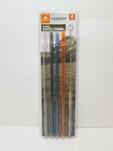 OZARK TRAIL STAINLESS STEEL TUMBLER STRAWS WITH CLEANER BRUSH UNIVERSAL