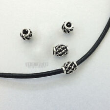 4 PC Antiqued Solid Sterling Silver Web Barrel Bead Spacer 6.6 x 7.7mm #33085