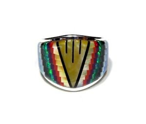Multicolor Southwest Inlay 925 Sterling Silver Men's Band Ring size 11
