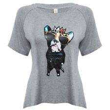 WOMEN'S SHORT SLEEVE ANIMAL PRINT PATCHWORK T-SHIRT (GRAY, SIZE S/M/L/XL/2XL)