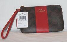 NWT Coach Corner Zip Wristlet Wallet Brown/True Red F54629