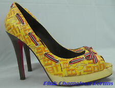 Baby Phat LOGO Womens Shoes 6 B Stilettos Open Toe Platform Heels w/ Ribbon Bow