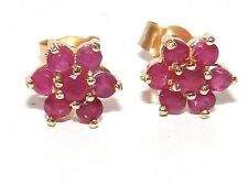9CT YELLOW GOLD RUBY FLOWER FORAL  STUD EARRINGS BUTTERFLY BACKS (KG6001)