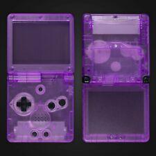 Game Boy Advance SP Housing Shell Clear Purple Repair Kit Case Nintendo