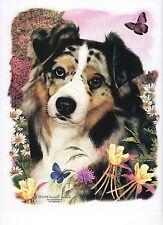 "AUSTRALIAN SHEPHERD  DOG w FLOWERS.One 18 x 22"" Fabric Panel to Sew.Actual 9x11"""