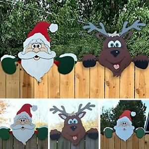 Santa Claus Elk Fence Peeker Christmas Outdoor Festivity To The Occasion Decor
