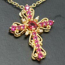 Antique Cross Red Ruby Pendant Necklace Nickel Free Jewelry Gift 14K Gold Plated
