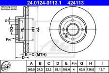 2x Bremsscheibe für Bremsanlage Vorderachse ATE 24.0124-0113.1