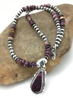 "Womens Gift Navajo Sterling Silver Purple Spiny Necklace 22"" Pendant 4736"