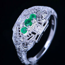 Solid 10K White Gold 0.2ct Natural Emeralds Women Fine Ring Jewellery Engagement