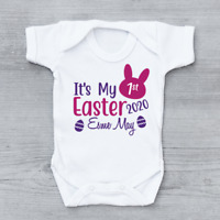 Personalised It's My First 1st Easter 2020 Bunny Head Girls Baby Grow Bodysuit