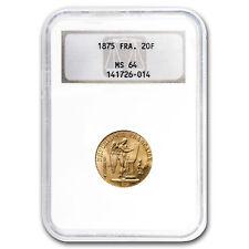 1871-1899 France Gold 20 Francs Angel MS-64 NGC/PCGS