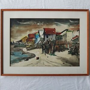 Watercolour Painting by Irene Amos OAM, Listed Artist, 'At Cribby', 1962.