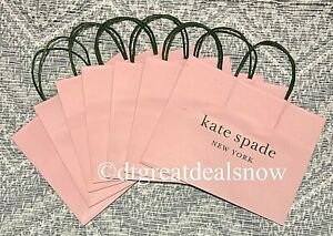 """NEW Kate Spade Lot of 7 Shopping Paper Gift Bags Pink & Green 10"""" x 8"""" x 4.5"""""""