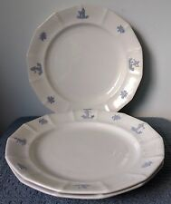 "Antique Stoneware ~ Set of 3 ~10"" WHITE PLATES ~ Raised Designs on 14-Sided Rims"