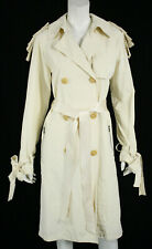 LANVIN Ivory Poly Techno Bow Shoulder Belted Trench Coat 38