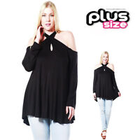 PLUS Black Boho Open Shoulder Keyhole Punk Rave Gothic Tunic Shirt Top 1X 2X 3X