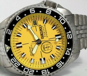 LOVELY PRODIVER YELLOW MODDED SEIKO DIVER 7002-7000 AUTOMATIC MEN'S WATCH 184586