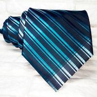 Cravatta uomo design nero & blu JACQUARD 100% seta Made in Italy RP€ 38