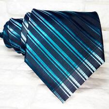 Cravatta uomo  design nero & blue  JACQUARD 100% seta Made in Italy RP€ 36