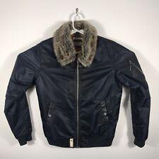 Vintage Original 2006 Altamont Faux Fur Bomber Jacket M Navy Blue