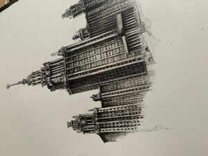 Architectural sketch, black and white ink drawing