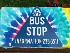 VINTAGE PORTLAND OREGON TRI MET BUS STOP SIGN Double Sided Metal Triangle Rare