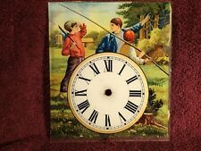 early 1900 VINTAGE ANTIQUE WALL CLOCK COLORFUL GLASS FACE BOYS FISHING EUROPEAN