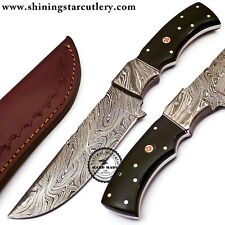Custom Hand Forged  Damascus Steel  Knife W/Leather Sheath