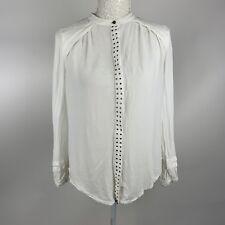 Mint Velvet Ladies Blouse Top Uk 10 Semi Sheer Back Button Tunic studs