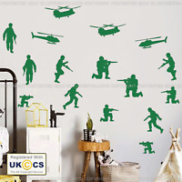 Army Wall Stickers Bedroom Art Green Toy Soldiers Children's Vinyl Art Removable