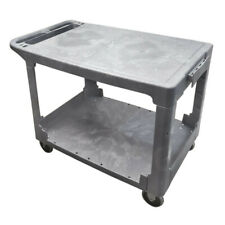 "Mobile Cart Carrier Plastic Flat Service Utility Cart 2 Shelves 500lbs 25"" x 42"""