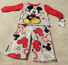 Mickey Mouse Boy's 12 Months 2 Piece Pajamas Gray With Red  Trim~Flame Resistant