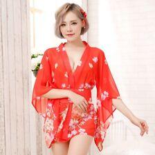 Japanese Kimono Sexy Lingerie Nightdress Nightclub Sleepwear Cosplay Costume Set