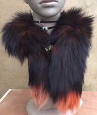 orange black genuine real fox tail fur collar scarf neck warmer shawl stole