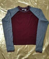 Vintage Energie long sleeved Burgundy/grey T Shirt-Ladies Large..(petite Fit)