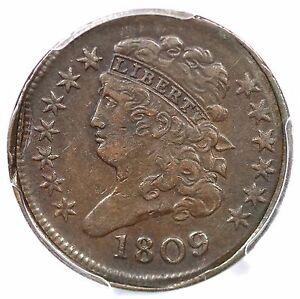 1809 PCGS XF 45 CCW Rotated Dies & Collar Classic Head Half Cent Coin 1/2c
