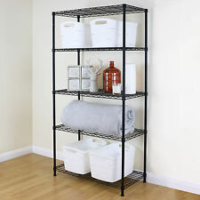 5 Tier Black Metal Storage Rack/Shelving Wire Shelf Kitchen/Office Unit 150cm