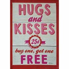 "HUGS & KISSES 12.5"" X 18"" GARDEN FLAG 27-2745-98 FLIP IT! RAIN OR SHINE SPRING"