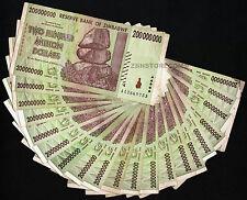 20 x 200 Million Zimbabwe Dollars Bank Notes 1/5th Bundle AA 2008 Currency 20PCS