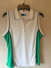 Women's Pga Tour Golf Shirt Large White W/Green Accent W/Navy Trim Sleeveless
