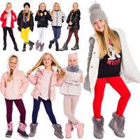 Kids Warm Winter Soft Leggings Childrens Thick Cotton Fleece Lined Pants CHILD28