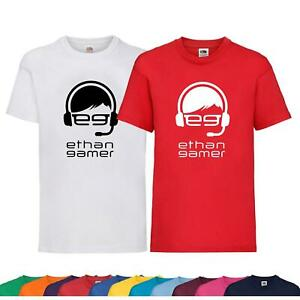 New Kids Boys Girls Ethan Gamer Youtuber T-Shirt Birthday Gift Childrens Tee Top