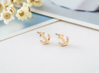 New Women's 18K Rose Gold Plated Cute Lucky Anchor Stud Earrings Fashion Gift