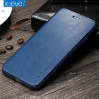 For iPhone 12 11 Pro Xs Max Genuine X-Level Leather Wallet Slim Flip Case Cover